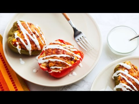 Chorizo & Quinoa Stuffed Bell Peppers - Easy To Make / Party Appetizer Recipe