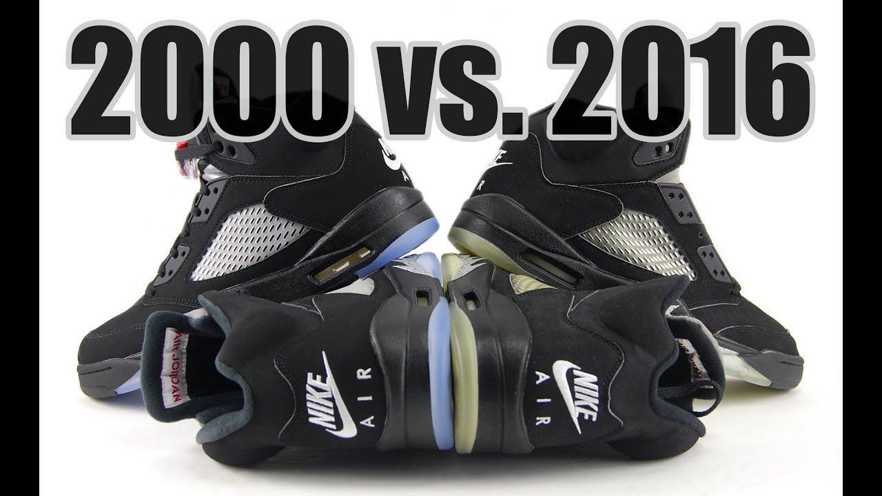 c36d29d18b9 2016 vs. 2000 Air Jordan 5 Black Metallic Comparison - YouTube