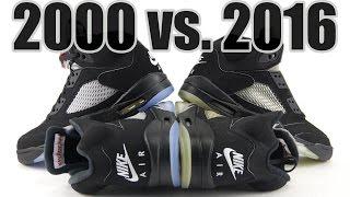 2016 vs 2000 air jordan 5 black metallic comparison