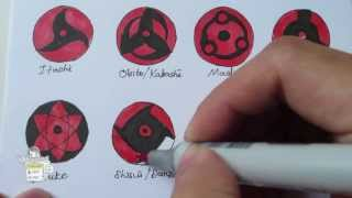 How to draw all Mangekyou Sharingan 万華鏡写輪眼