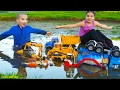 Bruder Toy Trucks for Kids - Playing with Toys in the Gross Mud - Diggers, Excavators, Dump Truck