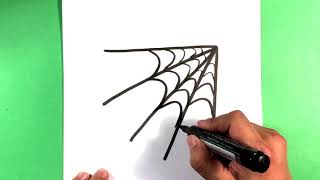 How to Draw Spider web - Halloween Drawings