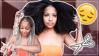 CUTTING OUT MY BRAIDS!! (MY NATURAL HAIR REVEAL)