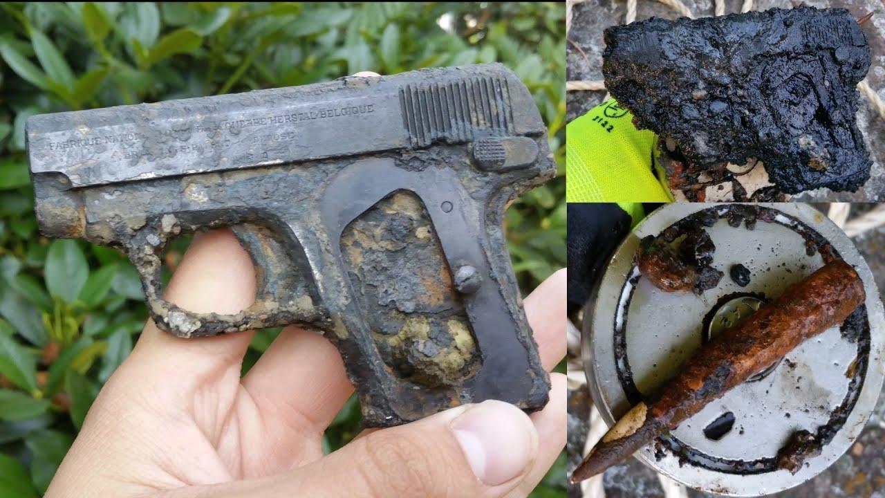 Magnet Fishing WW2 - World War 2 Pistol found!!! - YouTube