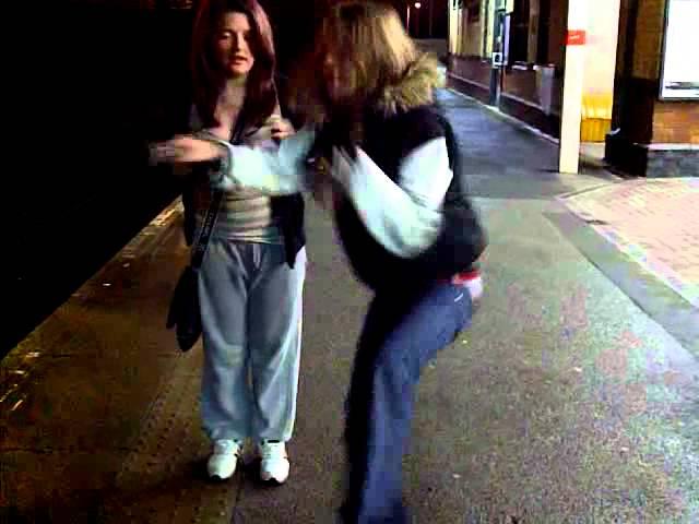 kelsey and chelsea havin a bash at ashton train station xxx