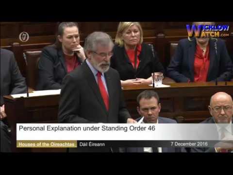 Gerry Adams TD Statement on Brian Stack Murder to Dail 07/12/2016