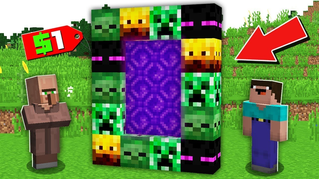 Minecraft NOOB vs PRO: WHY VILLAGER SELLING SECRET MOB PORTAL TO NOOB FOR $1 Challenge 100% trolling