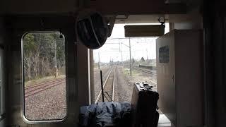 小湊駅を出発する青い森鉄道上り701系の前面展望