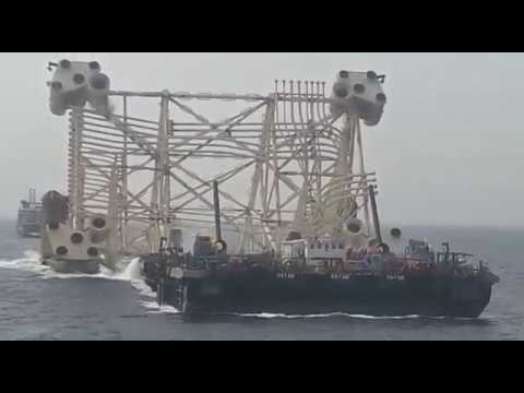 The Quarters and Utilities (QU) platform jacket lowering into Caspian Sea_March 2017
