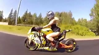 Красивая девушка на  KTM RC8R. Beautiful girl on a motorcycle.