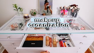 organizing my makeup vanity + how I shave my face at home!