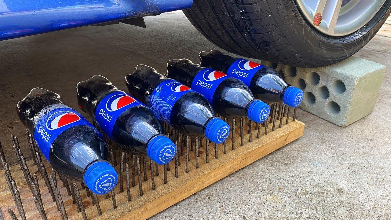 Experiment Car vs Pepsi & 200 Nails ! Crushing Crunchy & Soft Things by Car