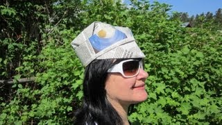 видео как сделать шапку из бумаги