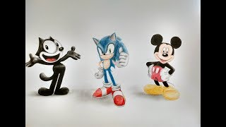 Speed Drawing Felix The Cat, Sonic and Mickey Mouse | Julia Blakita