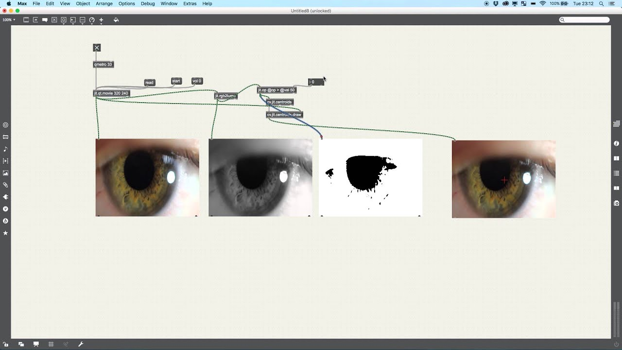 MAX MSP 7 TUTORIAL: EYE TRACKING WITH CV JIT CENTROIDS