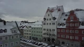 Kempten (Allgäu) im Winter - Luftbildaufnahme (über St.-Mang-Platz)