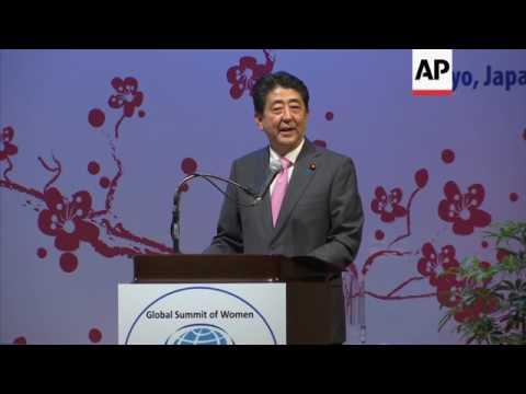 Abe speaks at opening of women's summit