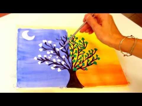 Pintar Arbol De Dia Y Noche Day And Night Tree Youtube