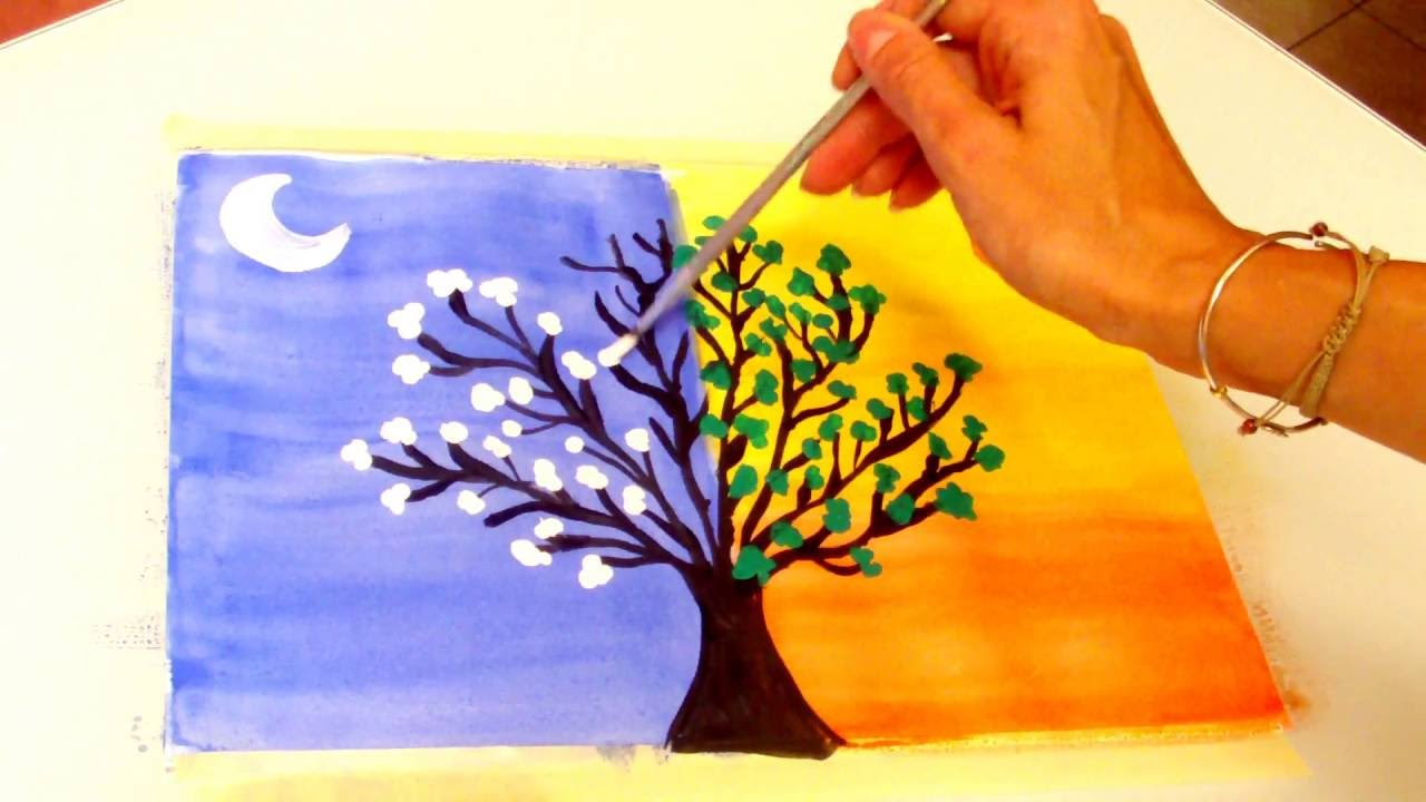 Pintar Arbol De Dia Y Noche Day And Night Tree