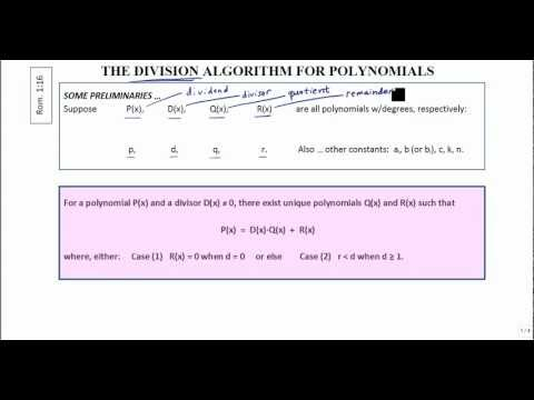 Division Algorithm for Polynomials .. in Homage of Christmas Day 2012