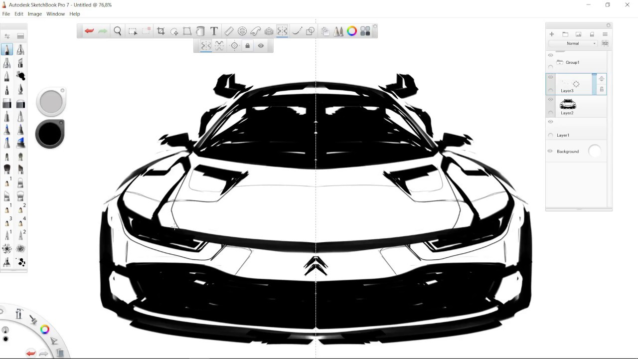 How To Sketch A Car Using SYMMETRY Tool (front view) - YouTube
