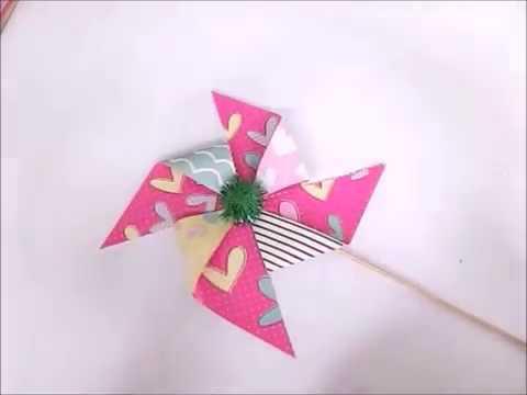 Deko Windmühle / Windrad aus Papier selber basteln - Sweetly Angel