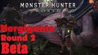 Monster Hunter: World Beta Nergigante Hunt Round 2 Hunting Horn Gameplay
