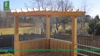 Cedar Deck With Pergola And Stainless Steel Railings