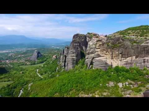 Meteora monasteries in Greece, drone view.