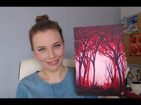 видео: Рисуем лес необычным цветом (акрил)