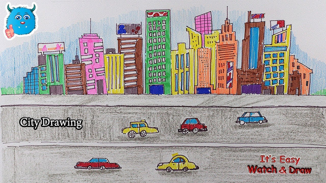 How to Draw a City with Road Very Easy Drawing for Kids ...