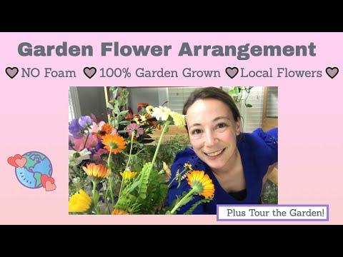 Cut Flower Garden Tour # 10 - Garden Flower Arrangement No Foam and NEW Perennial Flower Bed