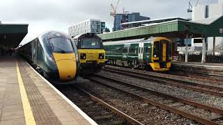 Cardiff centrail trains, freight 66 and 70 also Hitachi 800 March 8th 2018
