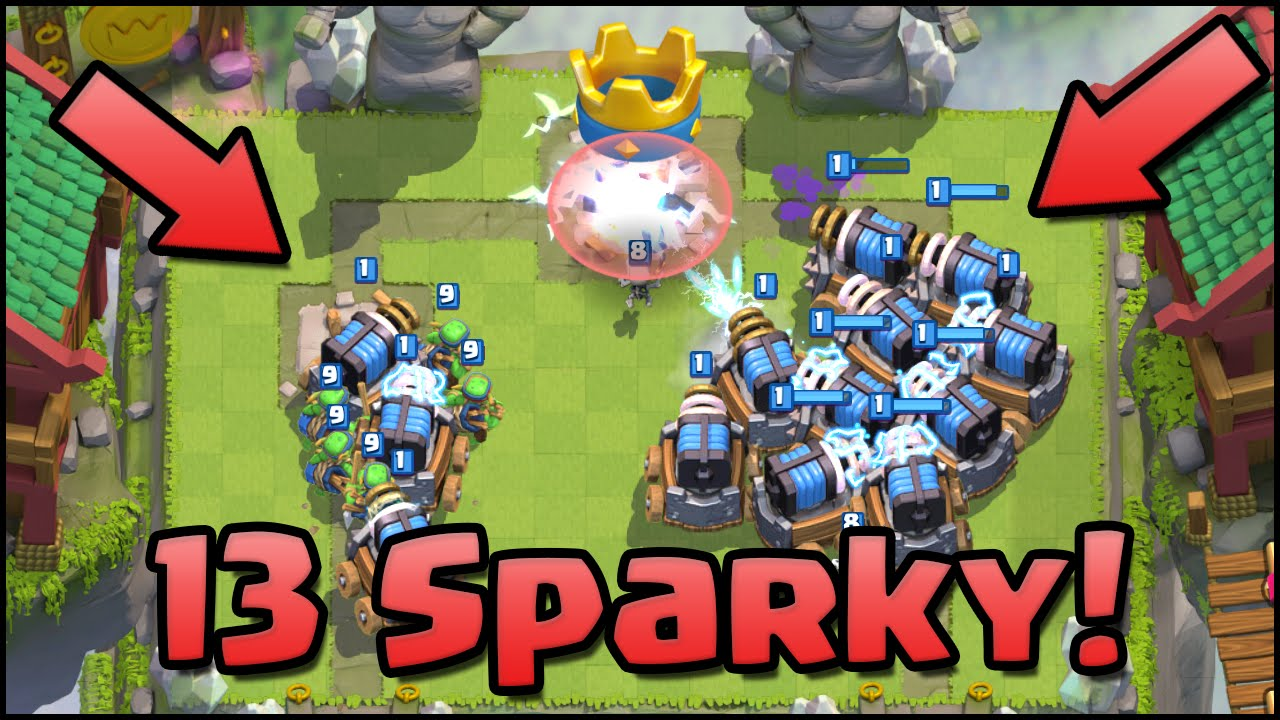 clash royale 13 sparky world record for most sparky on