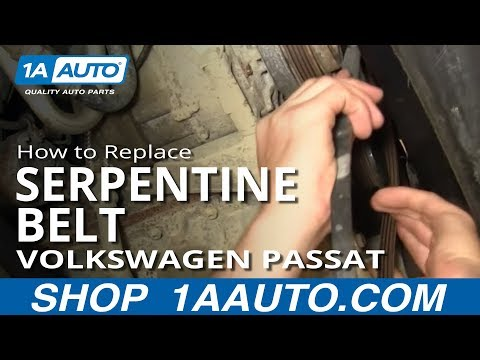 How To Install Replace A/C Compressor Fan Serpentine Belt Volkswagen Passat 1.8T 1AAuto.com