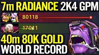 NEW WORLD RECORD 2400 GPM - 7Min Radiance Alchemist Insane Farm WTF Dota 2