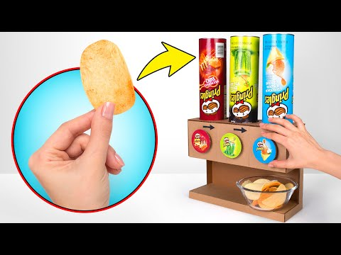 DIY Cardboard Pringles Dispenser For 3 Flavors