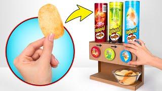 DIY Cardboard Pringles Dispenser For 3 Flavors