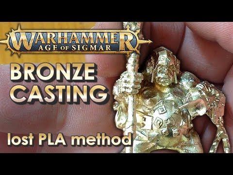 WARHAMMER miniature bronze casting - lost PLA casting method - by VOG (VegOilGuy)