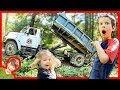 REAL DUMP TRUCKS WORKING AT OUR HOUSE!