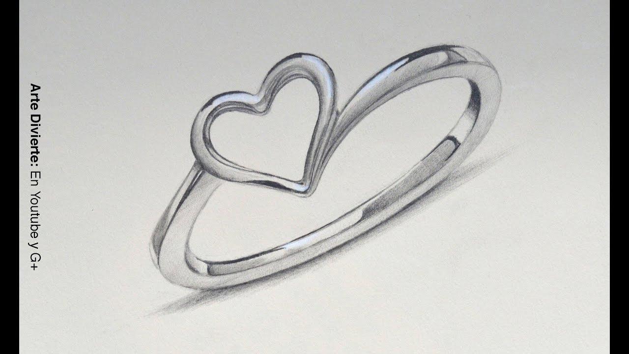 Cómo dibujar un anillo de plata con un corazón - Arte Divierte ...