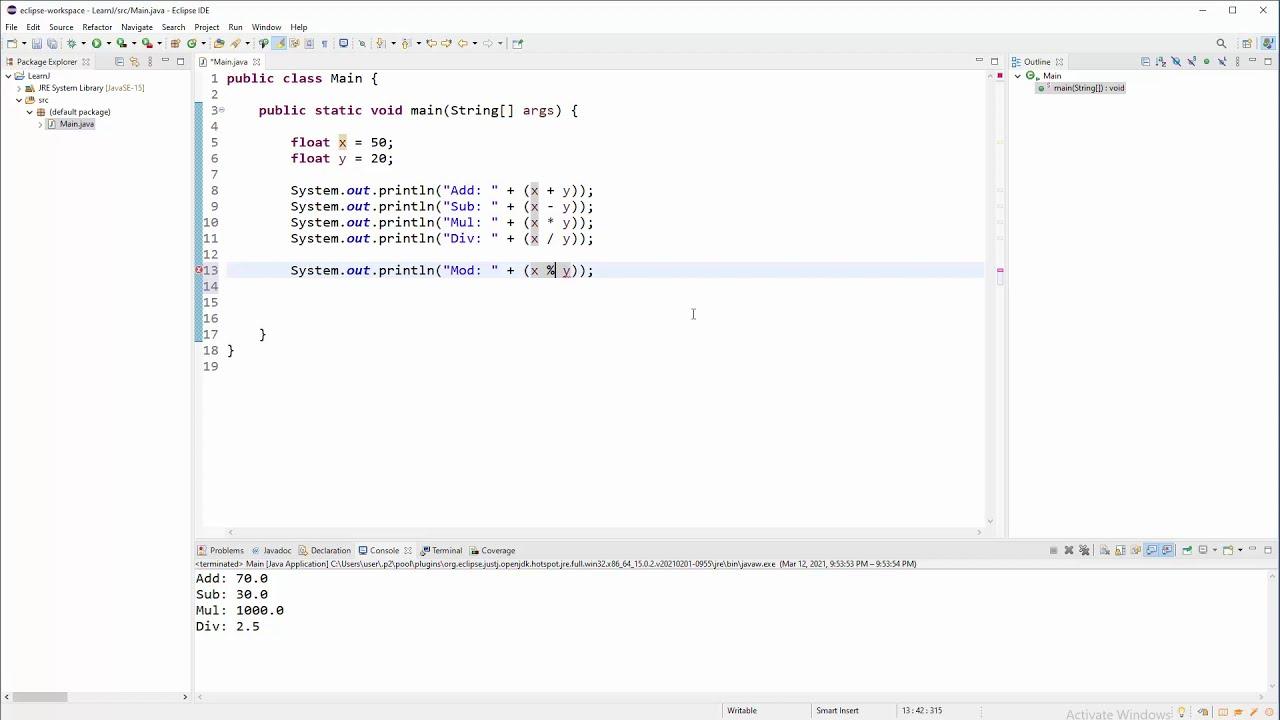 Java Tutorial - Arithmetic Operations - Simple Calc