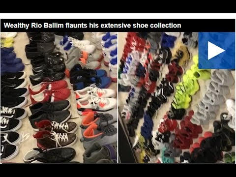 Wealthy Rio Ballim flaunts his extensive shoe collection