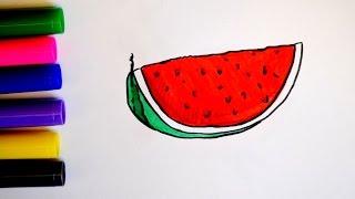Учимся рисовать для детей/ как нарисовать арбуз/ развивающее видео