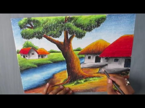 How to Draw a Village landscape with Oil Pastel | Episode-16