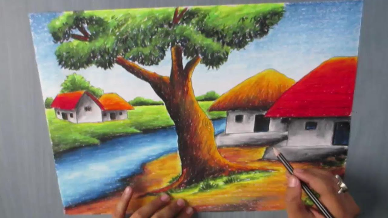 How to draw a village landscape with oil pastel episode 16 youtube