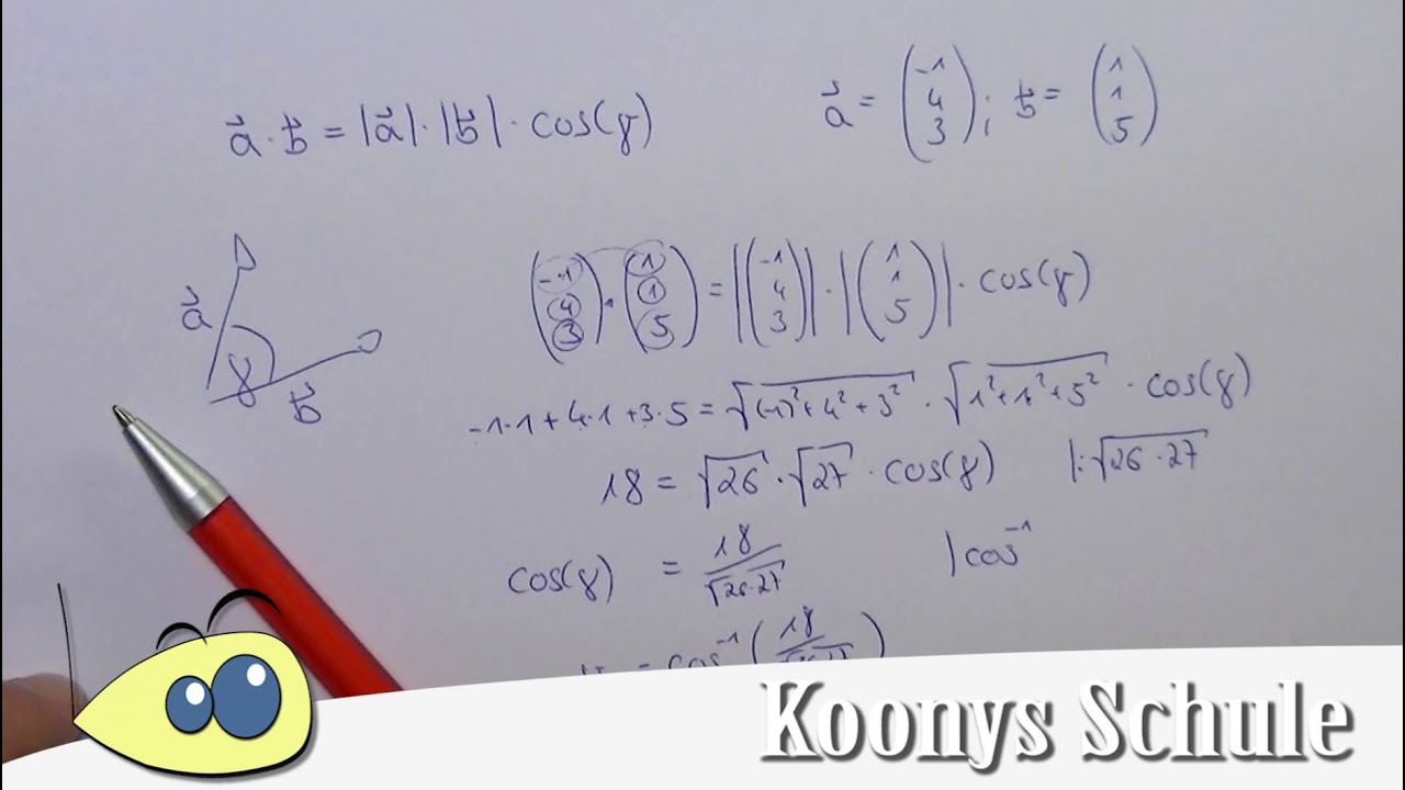 Winkel zwischen 2 Vektoren bestimmen, Beispiel, analytische ...