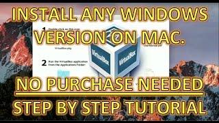 BEST FREE INSTALL - WINDOWS VIA VIRTUAL MACHINE ON MAC OSX. NO NEED FOR USB DRIVE OR WIN KEY - V BOX