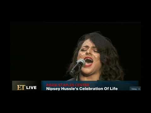 "Marsha Ambrosius Singing Mariah Carey's Fly Like A Bird At Nipsey Hussle""s Memorial"