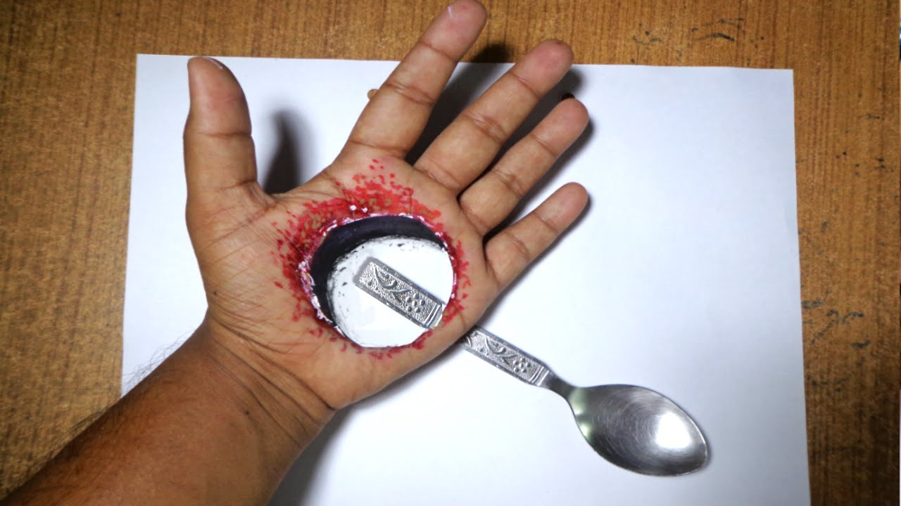How To Draw Hole My Hand - 3D Hole Drawing In My Hand
